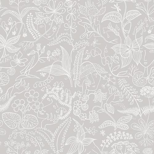 Papel pintado floral estampado color blanco con fondo gris Stig Lindberg Grazia 1981