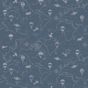 Papel pintado con ilustraciones de mapas en blanco sobre fondo azul Adventures 7458