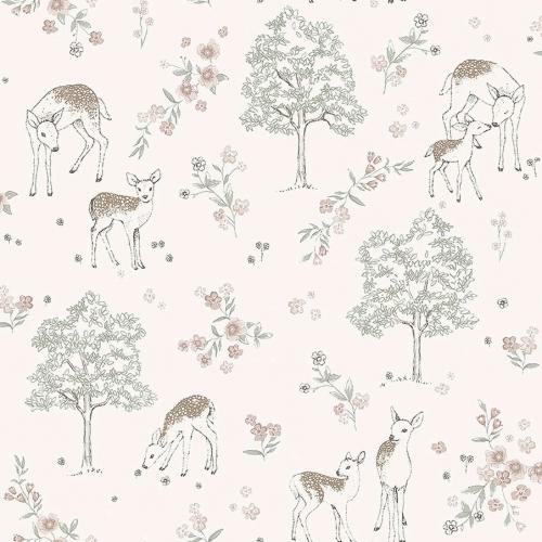 Papel pintado infantil y juvenil con colores rosas y verdes sobre fondo rosa-beige Deer Love 7473