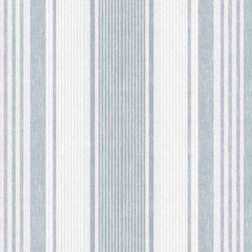 Papel pintado estilo rayas en azul y gris sobre blanco Linen Stripe 6860