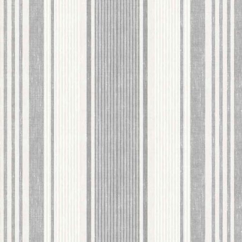 Papel pintado estilo rayas en gris y marfil Linen Stripe 6862