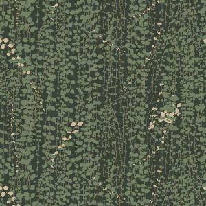 Papel pintado de ramilletes de hojas color verde sobre fondo verde oscuro Arne Jacobsen Ranke 1983