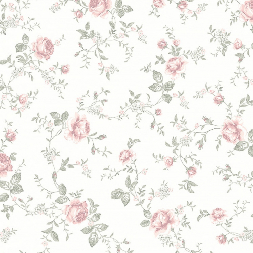 Papel pintado infantil y juvenil flores rosas sobre fondo blanco Rose Garden 7464