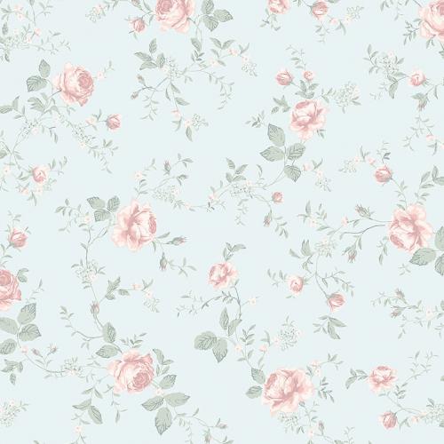 Papel pintado infantil y juvenil flores rosas sobre fondo azul Rose Garden 7465