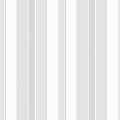 Papel pintado estilo rayas en color blanco, gris y plata Stockholm Stripe 6876