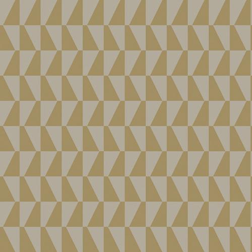 Papel pintado geométrico color beige y dorado brillante Arne Jacobsen Trapez 1992