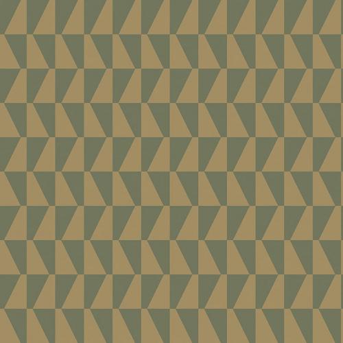 Papel pintado geométrico color verde y dorado brillante Arne Jacobsen Trapez 1993