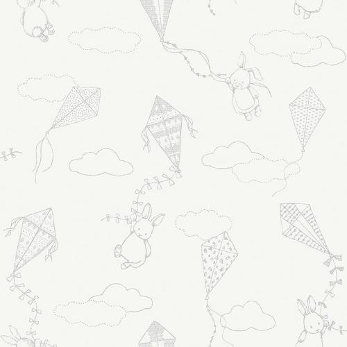 Papel pintado infantil y juvenil motivos infantiles gris sobre fondo blanco Up & Away 7459