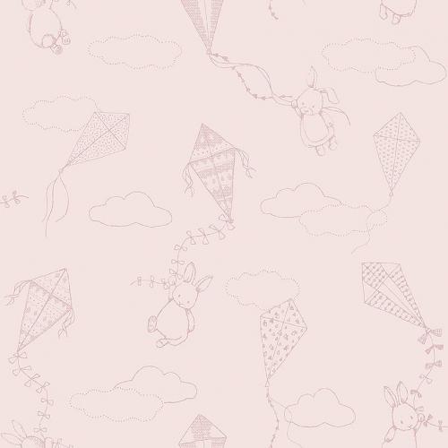 Papel pintado infantil y juvenil motivos infantiles en rosa con fondo rosa Up & Away 7460
