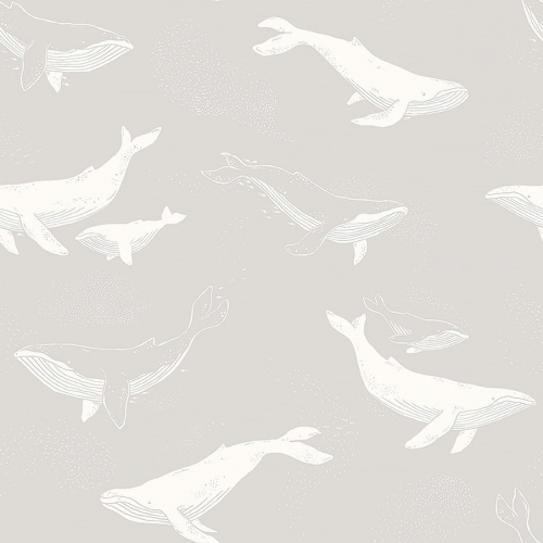 Papel pintado infantil y juvenil ballenas blancas sobre fondo gris Whales 7452