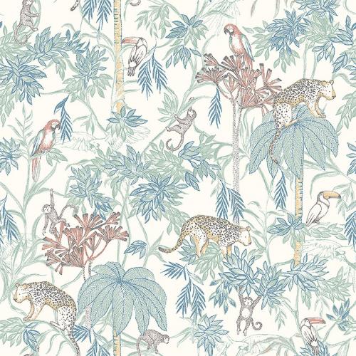 Papel pintado infantil y juvenil con animales y plantas selva multicolor sobre fondo blanco Wild Jungle 7462
