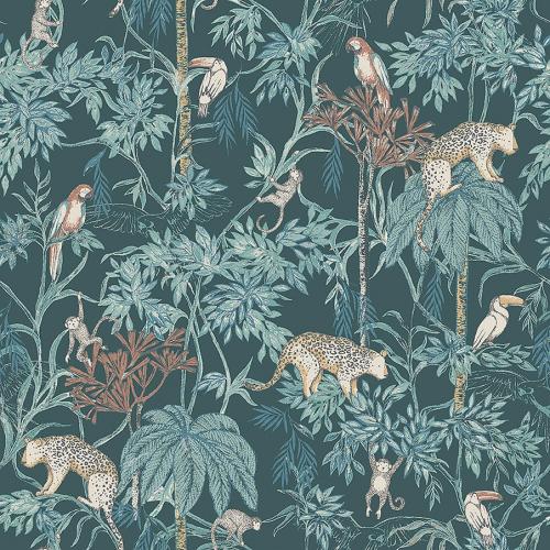 Papel pintado infantil y juvenil con animales y plantas de selva multicolor sobre fondo azul Wild Jungle 7463