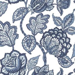 Papel pintado flores color azul sobre fondo blanco Mid Summer Jacobean CY1535