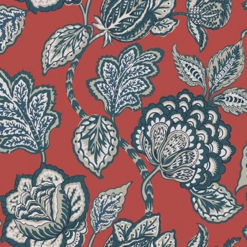 Papel pintado flores color verde sobre fondo rojo Mid Summer Jacobean CY1536