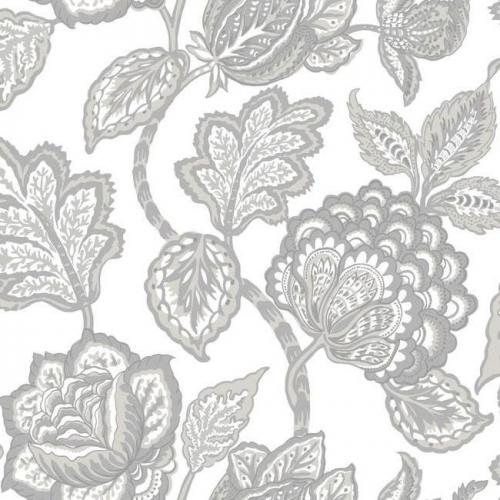 Papel pintado flores color gris sobre fondo blanco Mid Summer Jacobean CY1538