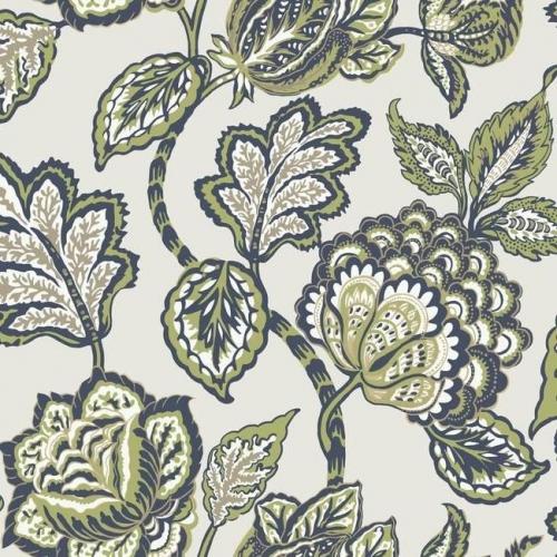 Papel pintado flores color verde sobre fondo verde claro Mid Summer Jacobean CY1539