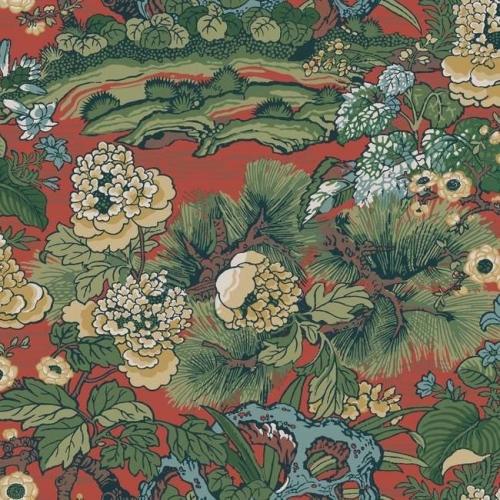 Papel pintado floral estampado multicolor sobre fondo rojo Dynasty Floral Branch CY1541