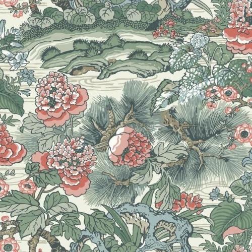 Papel pintado floral estampado, flores rojas sobre fondo verde Dynasty Floral Branch CY1542