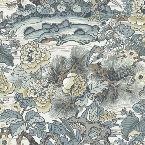 Papel pintado floral estampado, multicolor con azules sobre fondo blanco Dynasty Floral Branch CY1543