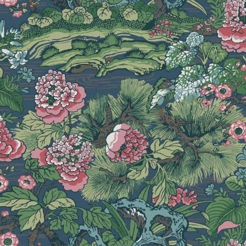 Papel pintado floral estampado, multicolor sobre fondo azul Dynasty Floral Branch CY1544
