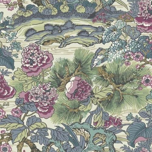 Papel pintado floral estampado multicolor sobre fondo verde Dynasty Floral Branch CY1545