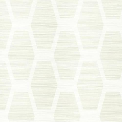 Papel pintado geométrico color marfil sobre fondo blanco Congas CY1571