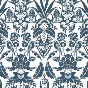 Papel pintado estilo damasco en color azul sobre fondo blanco Botanical Damask CY1580