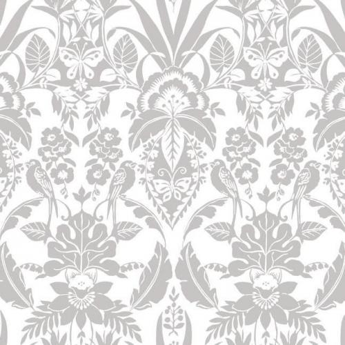 Papel pintado estilo damasco en color gris sobre fondo blanco Botanical Damask CY1582