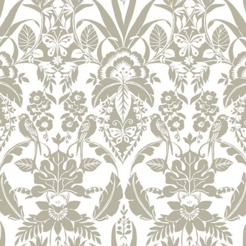 Papel pintado estilo damasco en color beige sobre fondo blanco Botanical Damask CY1583