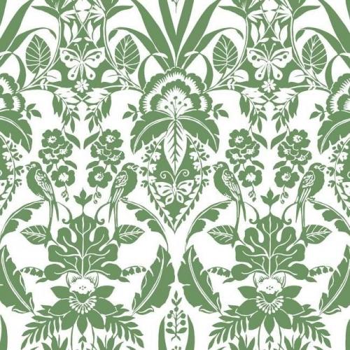 Papel pintado estilo damasco en color verde sobre fondo blanco Botanical Damask CY1584