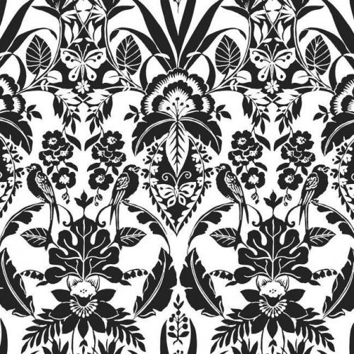 Papel pintado estilo damasco en color negro sobre fondo blanco Botanical Damask CY1585