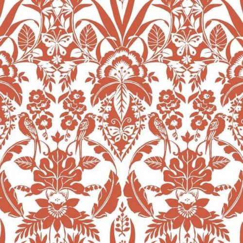 Papel pintado estilo damasco en color rojo sobre fondo blanco Botanical Damask CY1586