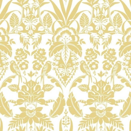 Papel pintado estilo damasco en color amarillo sobre fondo blanco Botanical Damask CY1587