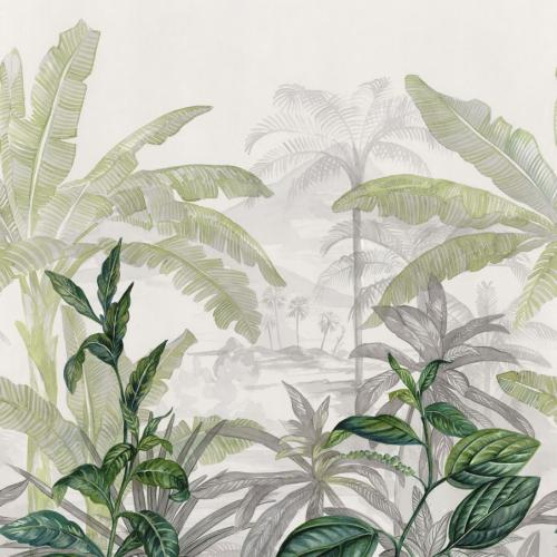 Mural de papel pintado estilo tropical en color verde y gris Olea 74840170-2
