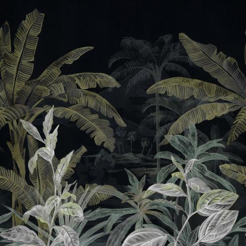Mural de papel pintado estilo tropical en color verde Olea 74840272-2