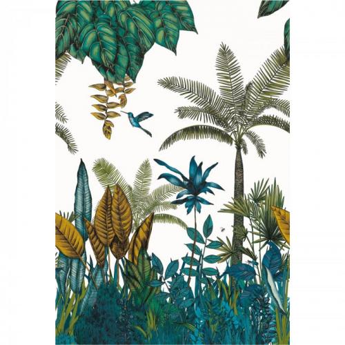 Mural de papel pintado estilo tropical palmeras y otras plantas tropicales en colores azul y verde sobre un fondo blanco Ipanema 74290384