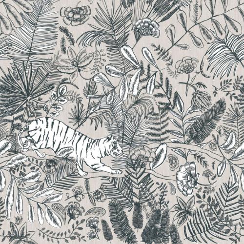 Mural de papel pintado estilo selva con hojas y flores en color blanco y prefiladas en azul sobre fondo beige Pashu 74543582
