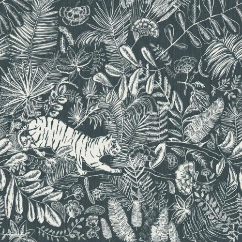 Mural de papel pintado estilo selva con hojas y flores en color blanco sobre fondo azul Pashu 74543684