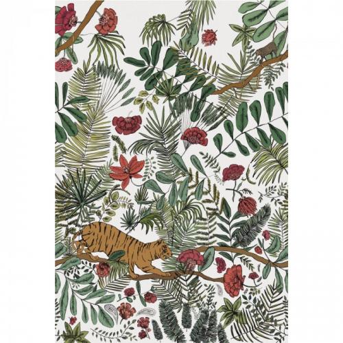 Mural de papel pintado estilo selva en multicolor sobre fondo blanco Pashu 74543786