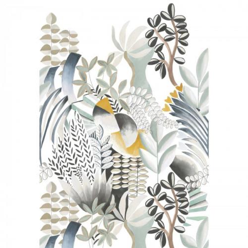 Mural de papel pintado estilo estampado floral plantas con hojas en colores gises sobre fondo blanco Artemis 74870100