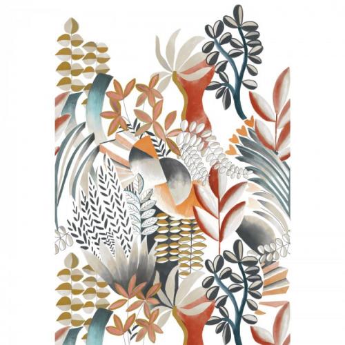 Mural de papel pintado estilo estampado floral plantas con hojas multicolor sobre fondo blanco Artemis 74870202