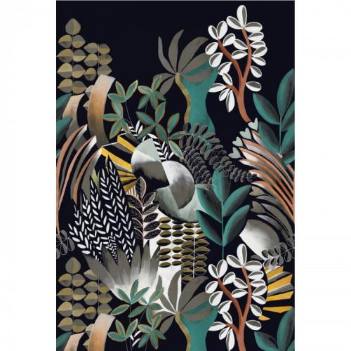 Mural de papel pintado estilo estampado floral plantas con hojas en colores esmeralda y negro sobre fondo negro Artemis 74870304