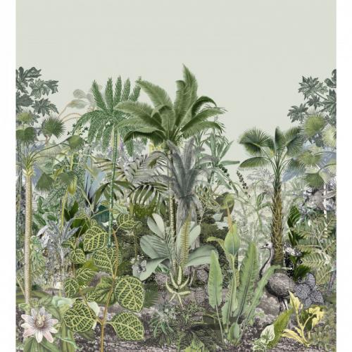 Mural de papel pintado estilo tropical palmeras y plantas tropicales en tonos de verde sobre fondo verde claro Monteverde 74890712