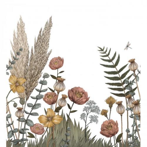 Mural de papel pintado estilo estampado floral plantas y flores en multicolor sobre un fondo blanco Eclosion 74931222