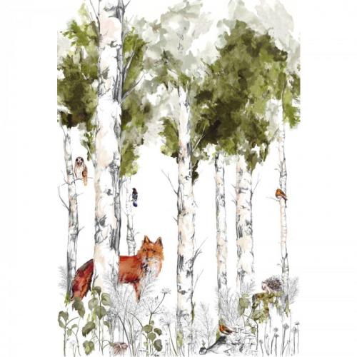 Mural de papel pintado estilo infantil animales del bosque y arboleda en multicolor Sylvania 74941324