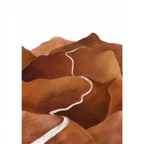 Mural de papel pintado estilo paisaje con montañas en tonos marrones y un camino en tonos blancos serpenteando Toscana 74961528