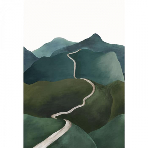 Mural de papel pintado estilo paisaje con montañas en tonos verdes y un camino en tonos blancos serpenteando Toscana 74961630