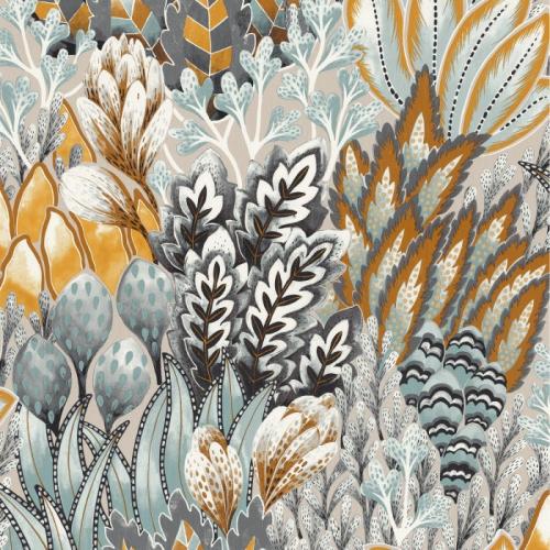 Papel pintado de estilo estampado floral en colores grises azulados Avicennia 75162500