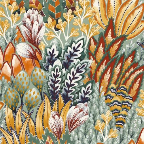 Papel pintado de estilo estampado floral en colores esmeralda y mostaza Avicennia 75162652