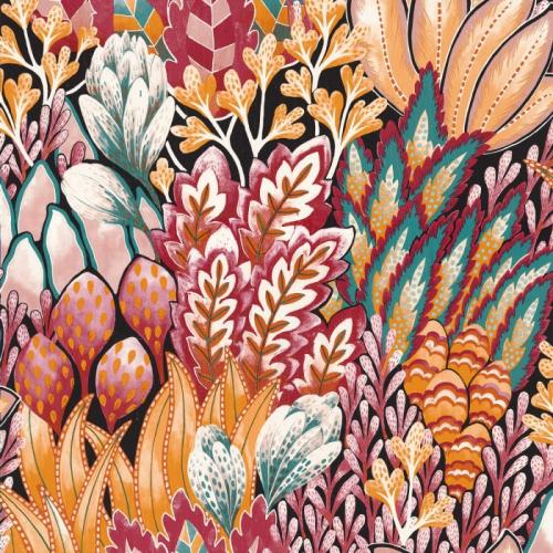 Papel pintado de estilo estampado floral en tonos rojos Avicennia 75162754